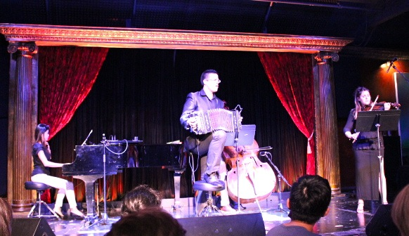 Composer and musician JP on Bandoneon with Melisa Atoyan, violin, Erika Dohi, piano and Chris Johnson double bass